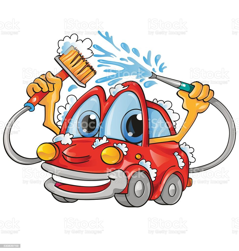 car wash cartoon vector art illustration