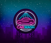 Car wash  design emblem in neon style illustration. Template, concept, luminous sign on the theme of washing cars. Advertising Billboard.