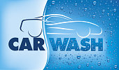 car wash design with many water drops - Illustration