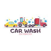 Emblem truck car wash. Vector illustration in cartoon style. Trucks, tractor at a car wash.
