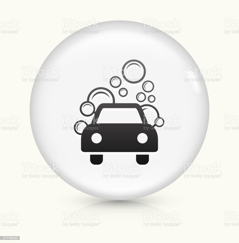 Car Wash icon on white round vector button