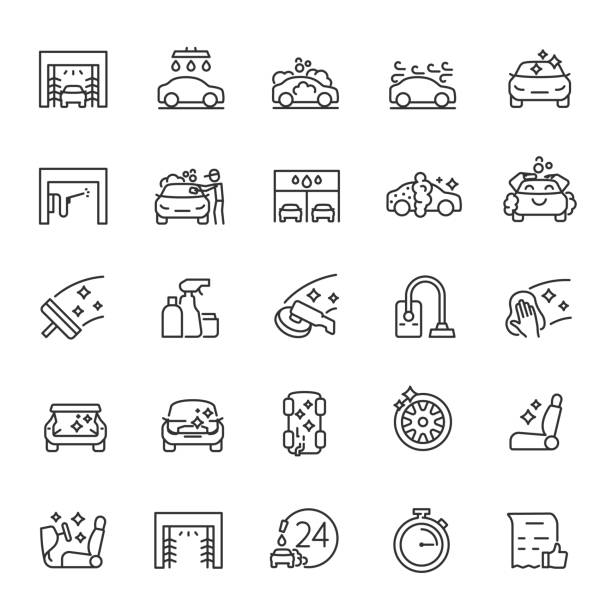 Car wash, icon set. Carwash, automatic and self service. linear icons. Line with editable stroke Car wash, icon set. Carwash, automatic and self service. Line with editable stroke car icons stock illustrations