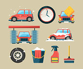 Car wash icon set. Foam roller washing machines cleaning auto service vector cartoon symbols isolated