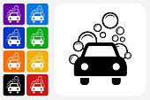 Car Wash Icon Square Button Set