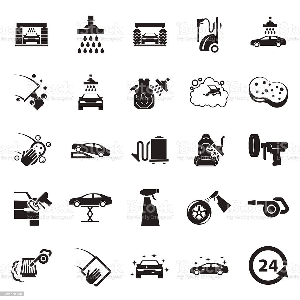 Car wash icon vector art illustration