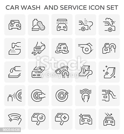 Car wash and service icon  set.