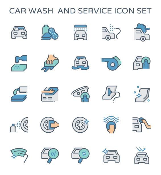 illustrazioni stock, clip art, cartoni animati e icone di tendenza di car wash icon - close up auto