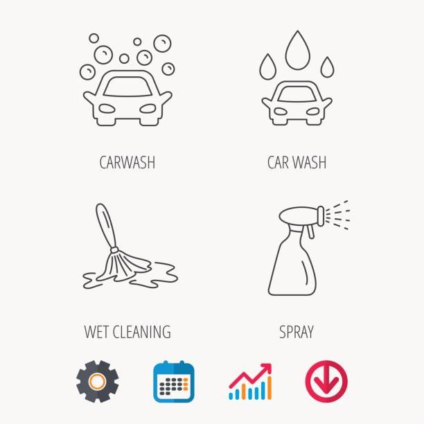 auto-icons. reinigung station linear der beschilderung. - splash grafiken stock-grafiken, -clipart, -cartoons und -symbole