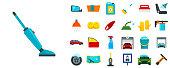 Car wash icons set. Flat set of car wash vector icons for web design