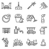 Car wash icons set.