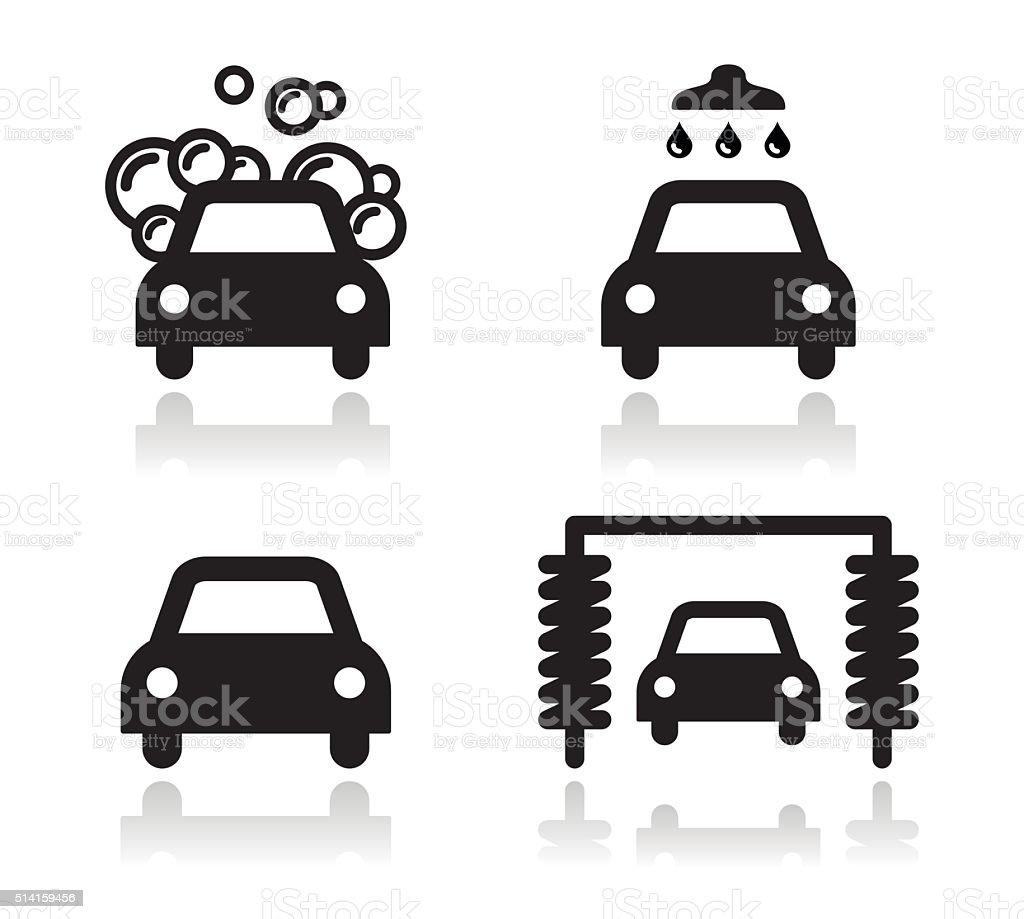 Car wash icons set - vector vector art illustration