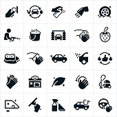 A set of car wash icons. The icons include an automatic car wash, manual car wash, cleaning supplies, vacuum, wiping, washing, polishing and shiny clean cars.