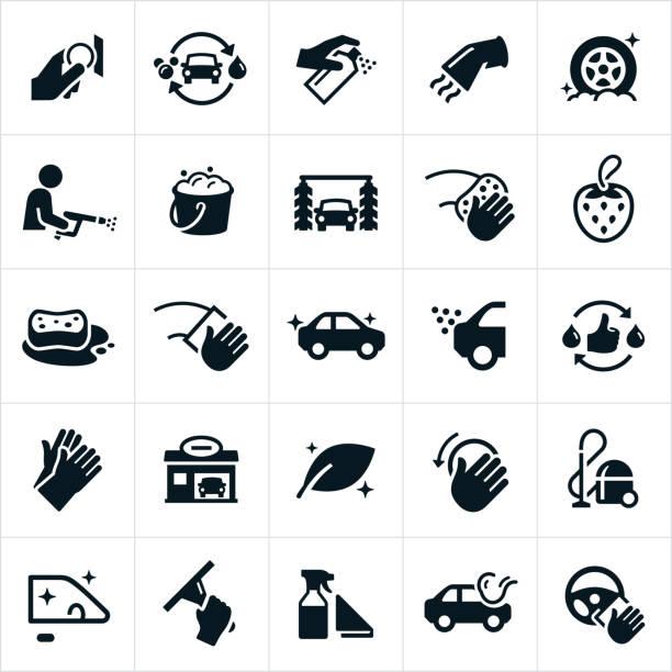 autowaschanlage-symbole - fenster putzen stock-grafiken, -clipart, -cartoons und -symbole