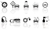 car wash isolated objects set