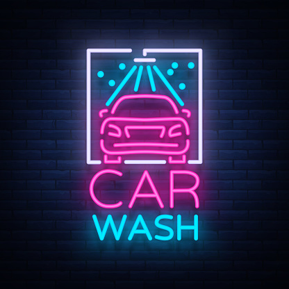 Car Detailing Cost >> Car Wash Logo Design Emblem In Neon Style Vector Illustration Template Concept Luminous Sign On ...
