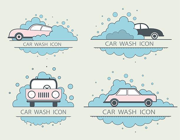 bildbanksillustrationer, clip art samt tecknat material och ikoner med car wash logo design layout. corporate vector symbol concept. flat - surf garage
