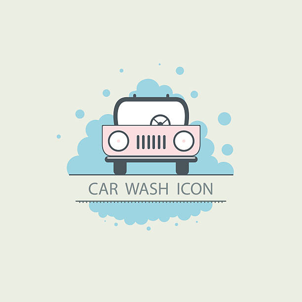 bildbanksillustrationer, clip art samt tecknat material och ikoner med car wash logo design layout. template icons. flat illustrations - surf garage