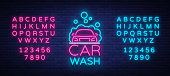 Car wash logo vector design in neon style vector illustration isolated. Template, concept, luminous signboard icon on a car wash theme. Luminous banner. Editing text neon sign. Neon alphabet