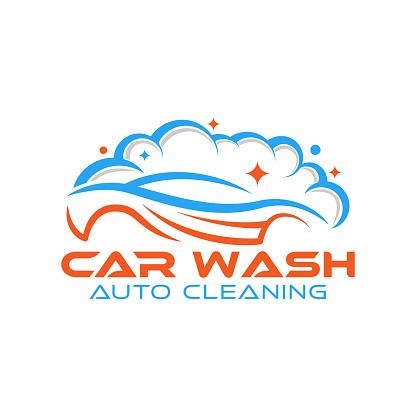 Car Wash Logo Vector Illustration template. Trendy Car Wash vector logo icon silhouette design. Car Auto Cleaning logo vector illustration for car detailing and car wash service.