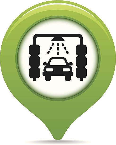 Car wash map pointer vector art illustration