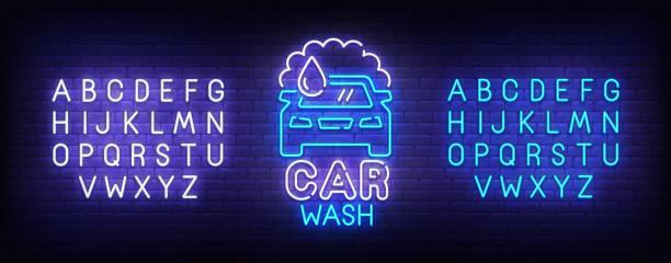 illustrazioni stock, clip art, cartoni animati e icone di tendenza di car wash neon sign, bright signboard, light banner. car wash logo, emblem and label. neon sign creator. neon text edit - close up auto
