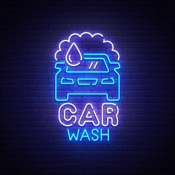 illustrazioni stock, clip art, cartoni animati e icone di tendenza di car wash neon sign, bright signboard, light banner. car wash logo neon, emblem. vector illustration - close up auto