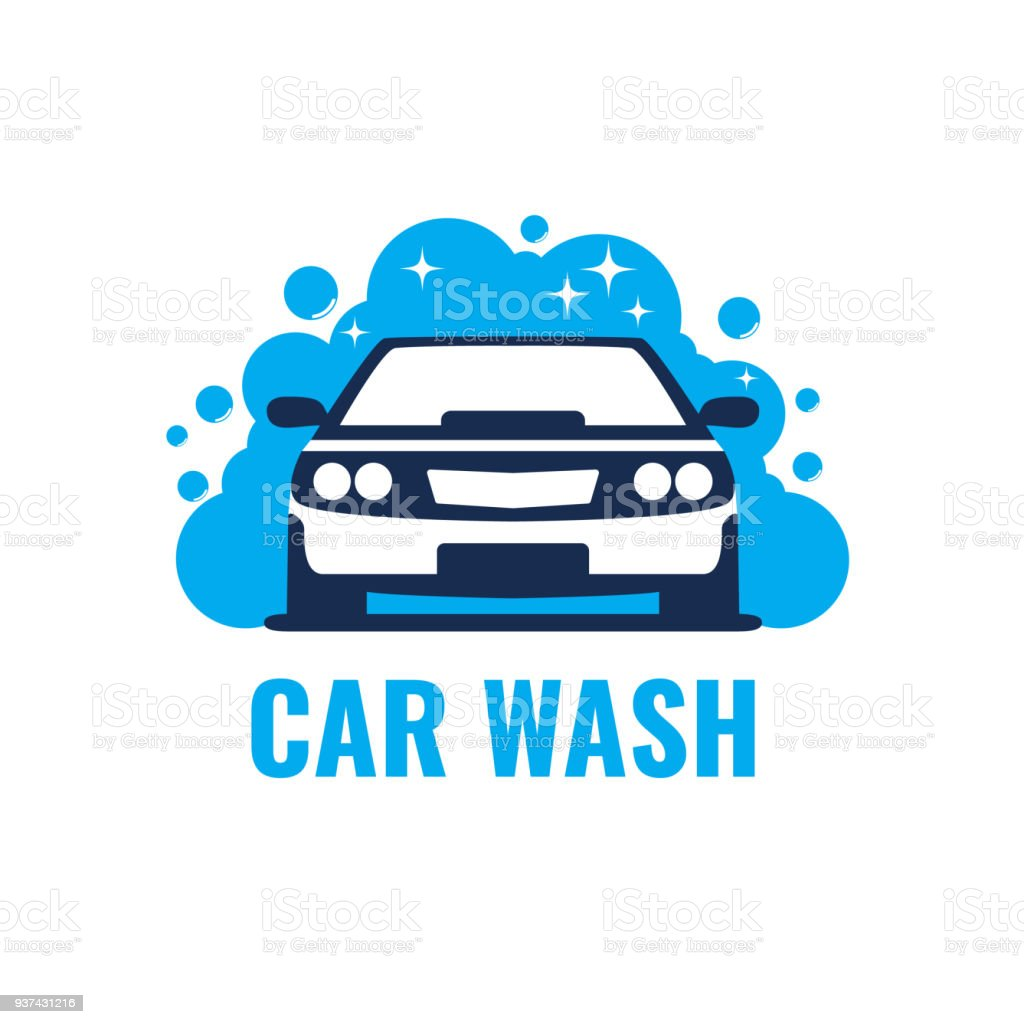 Car Wash  on light background. Clean car in bubbles and water. Template Design Vector