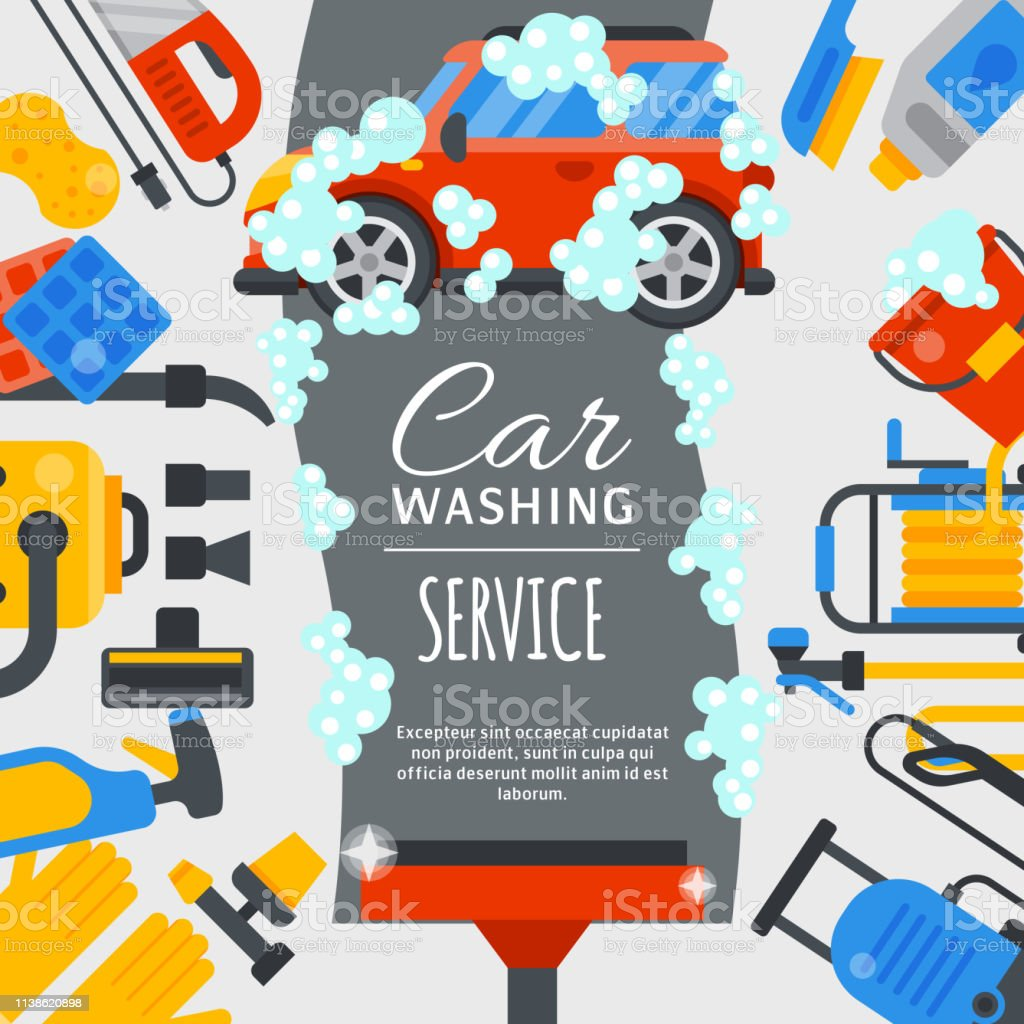 Car Wash Poster Water Transport Cleaner Background Vector Illust