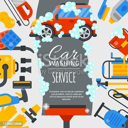 Car wash poster water transport cleaner background vector illustration. Washer car shower washing service auto vehicle cleaner station. Transportation clean care shiny business concept.