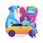 Car wash service abstract concept vector illustration. Automatic wash, vehicle cleaning market, self-serve station, 24 hours full service company, hand, interior vacuum cleaning abstract metaphor.
