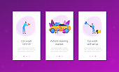 Car wash employees washing the exterior of the car with equipment and foam. Car wash service, vehicle cleaning market, carwash self-serve concept. Mobile UI UX GUI template, app interface wireframe