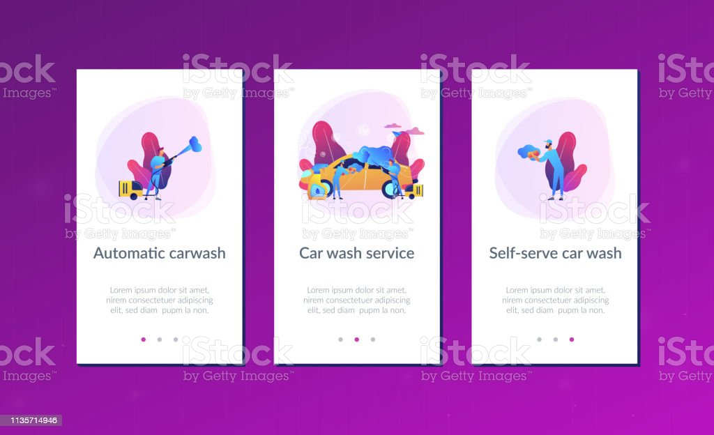 Car wash service app interface template.