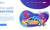Car wash service concept landing page.