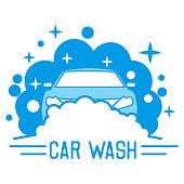 car wash service insignia, vector illustration