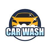 Car wash service logo isolated on white background, vector illustration
