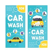 Car Wash Service Vertical Banner Card Set. Vector