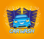 Car wash sign with cheerful blue car.