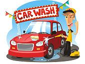 Car Wash Sign with boy washing vehicle