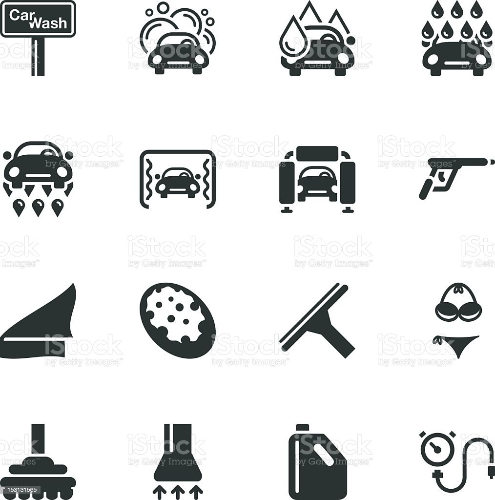 Car Wash Silhouette Icons