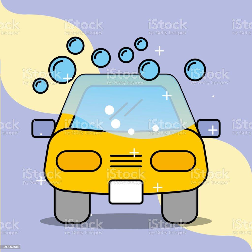 car wash soap bubbles service maintenance vector art illustration