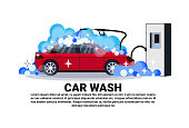 Car Wash Station Banner With Service Cleaning Vehicle Over Copy Space Background