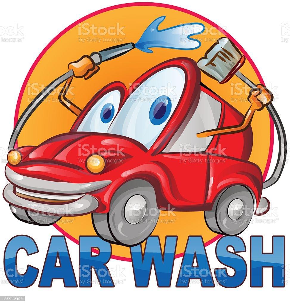 car wash symbol cartoon isolated on white vector art illustration