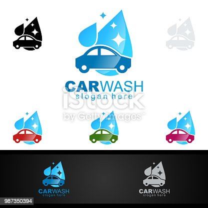 Car Wash Symbol Cleaning Car Washing And Service Vector Symbol