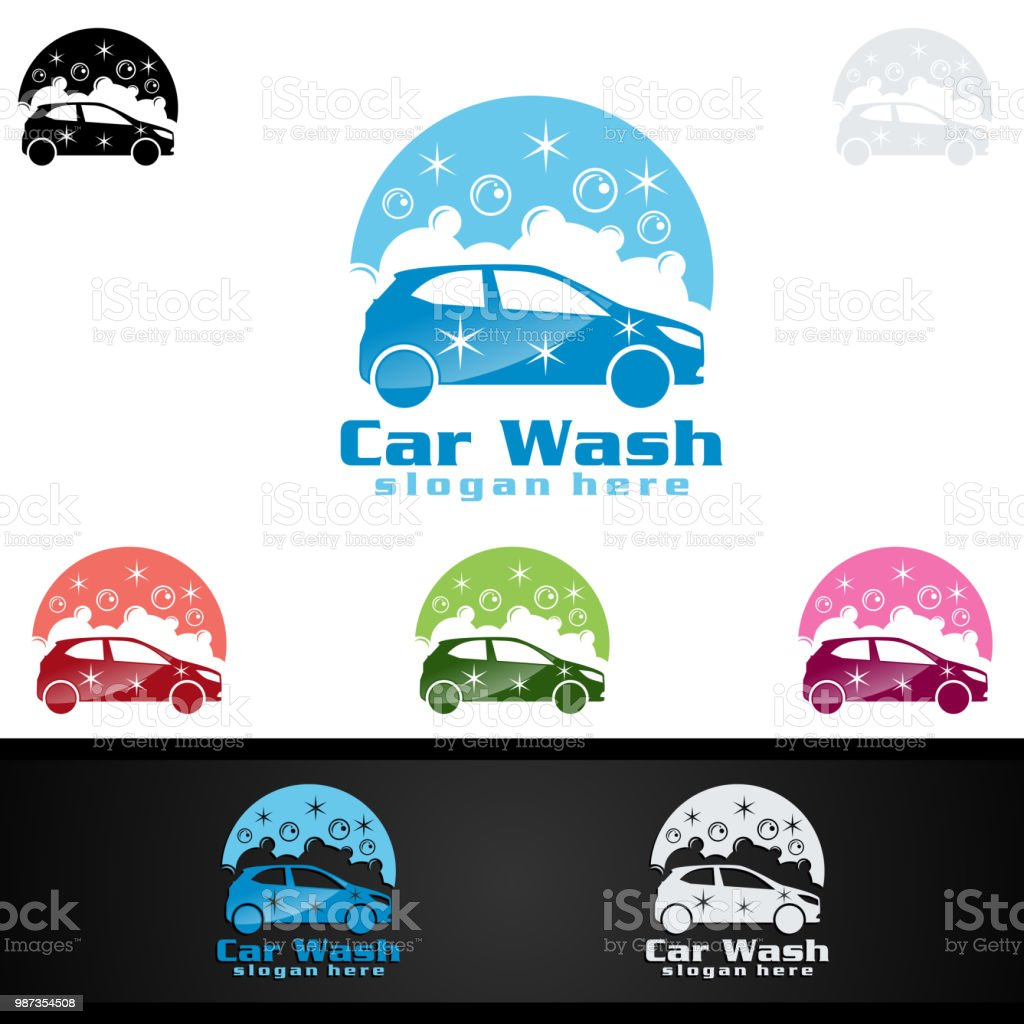 Car Wash Symbol, Cleaning Car, Washing and Service Vector Symbol Design