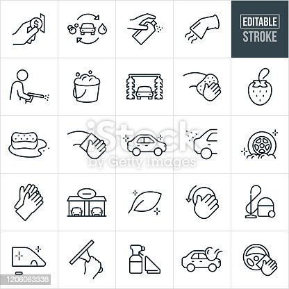 A set of car wash icons that include editable strokes or outlines using the EPS vector file. The icons include a car wash, person putting money in slot, car cleaning supplies, vacuum, person using spray washer, bucket full of soap suds, automatic car wash, hand using sponge to clean, air freshener, sponge with soap water, hand using towel to wipe clean, sparkling clean car, sparkling clean car wheels, rubber gloves, car wash bays, environmentally safe cleaners, car waxing, sparkling clean car windows, hand using squeegee and spray bottle to name a few.