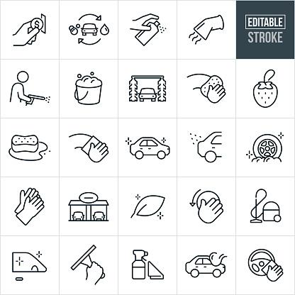 Car Wash Thin Line Icons - Editable Stroke