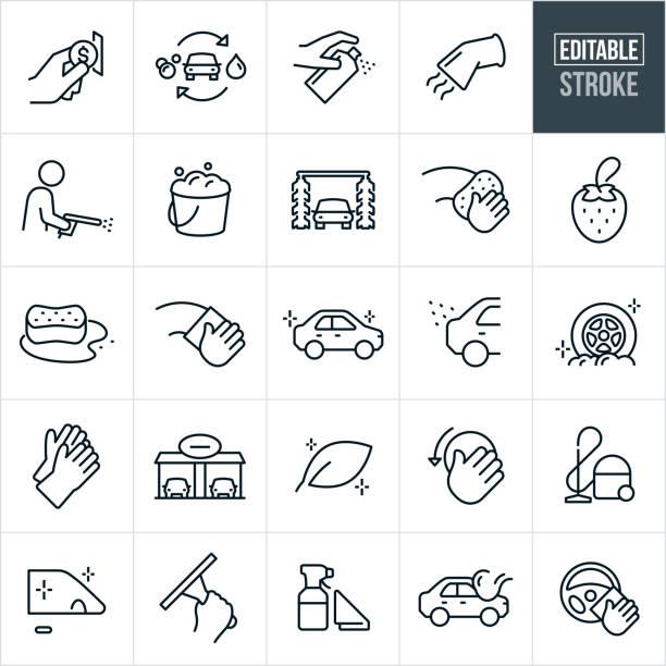 洗車細線圖示 - 可編輯的描邊 - 清新 幅插畫檔、美工圖案、卡通及圖標