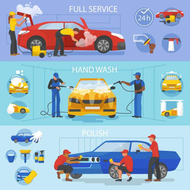 auto-waschanlagen vektor autoreinigung mit menschen, die reinigung auto oder fahrzeug illustration wartungsset autowaschanlage und zeichen unterlegscheiben oder reiniger politur auto isoliert auf weißem hintergrund - fenster putzen stock-grafiken, -clipart, -cartoons und -symbole