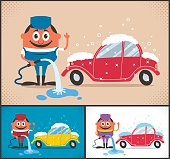 Cartoon character washing car. The illustration is available in 3 different color versions. No transparency and gradients used.