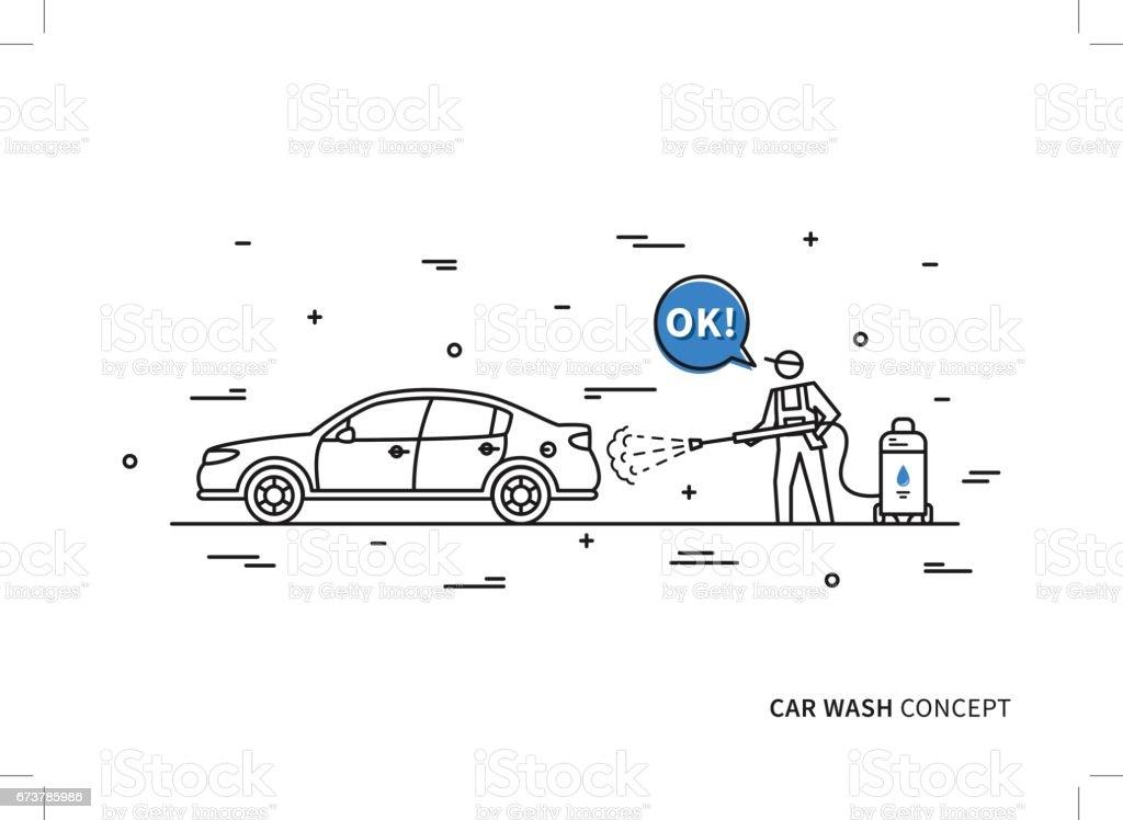 Car wash vector illustration